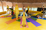 Auroville, India - April 2021: Human Unity in Covid Time. Acroyoga class.
