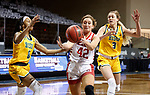 SIOUX FALLS, SD - MARCH 8: Maddie Krull #42 of the South Dakota Coyotes drives past Reneya Hopkins #0 and Kadie Deaton #3 of the North Dakota State Bison during the Summit League Basketball Tournament at the Sanford Pentagon in Sioux Falls, SD. (Photo by Richard Carlson/Inertia)