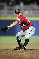Carolina Mudcats relief pitcher Kent Hasler (24) in action against the Kannapolis Cannon Ballers at Atrium Health Ballpark on June 9, 2021 in Kannapolis, North Carolina. (Brian Westerholt/Four Seam Images)