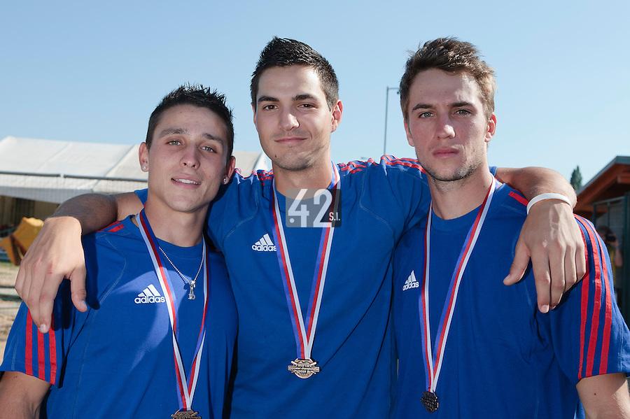 22 August 2010: Matt Lapinski, Joris Navarro, and Quentin Pourcel pose at the 2010 European Championship, under 21, in Brno, Czech Republic.
