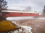 Forksville Covered Bridge in winter.  A Burr arch truss covered bridge over Loyalsock Creek in the borough of Forksville, Sullivan County, PA. 1850