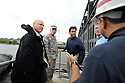 From left to right,  New Orleans Mayor Mitch Landrieu,  Army Corps of Engineers Colonel Ed Fleming, Louisiana Bobby Jindal and U.S. Senator David Vitter get a briefing from Army Corps of Engineers Canal Captain as they tour the new levee wall and pumps at the 17th Street Canal, built after Hurricane Katrina,  as Hurricane Isaac approaches New Orleans, Tuesday, Aug. 28, 2012. The Category 1 hurricane is expected to hit New Orleans overnight....(AP Photo/Cheryl Gerber)