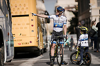 european champion Matteo Trentin (ITA/Mitchelton Scott) & son<br /> <br /> Stage 7: Nice to Col de Turini (181km)<br /> 77th Paris - Nice 2019 (2.UWT)<br /> <br /> ©kramon