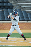 Blake Davey (27) of the UConn Huskies at bat against the Wake Forest Demon Deacons at Wake Forest Baseball Park on March 17, 2015 in Winston-Salem, North Carolina.  The Demon Deacons defeated the Huskies 6-2.  (Brian Westerholt/Four Seam Images)