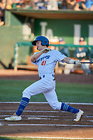 Chris Roller (41) of the Ogden Raptors bats against the Helena Brewers at Lindquist Field on July 14, 2018 in Ogden, Utah. Ogden defeated Helena 8-6. (Stephen Smith/Four Seam Images)