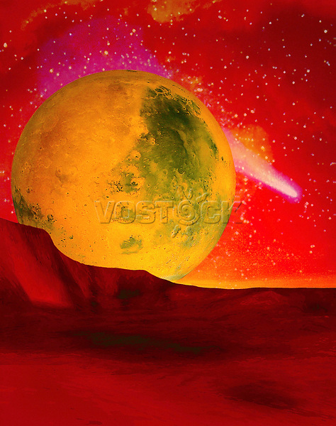 Illustrated design space, moon crater, stars.