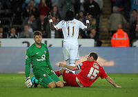 Pictured: Marvin Emnes of Swansea (C) is celebrating his goal, goalkeeper Scott Flinders (L) and Keith Lowe of York City sit on the ground dejected Tuesday 25 August 2015<br /> Re: Capital One Cup, Round Two, Swansea City v York City at the Liberty Stadium, Swansea, UK.