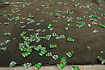 Discarded water cups lay on the payment during the ING New York City Marathon in New York, New York on November 4, 2007.  Martin Lel (KEN) won the men's race with a time of 2:09:04  Paula Radcliffe (GBR) won the women's race with a time of 2:23:09.