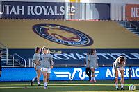 HERRIMAN, UT - JULY 12: Utah Royals FC warms up during a game between Utah Royals FC and Chicago Red Stars at Zions Bank Stadium on July 12, 2020 in Herriman, Utah.