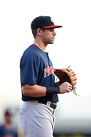 Pawtucket Red Sox third baseman Garin Cecchini (3) during a game against the Buffalo Bisons on August 23, 2014 at Coca-Cola Field in Buffalo, New  York.  Buffalo defeated Pawtucket 15-2.  (Mike Janes/Four Seam Images)