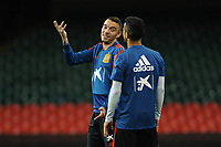 Spain's Iago Aspas (left) speak with Thiago (right) during the pre-International Friendly training session of the Spain squad at the Principality Stadium, Cardiff, UK. Wednesday 10 October 2018
