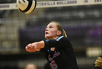 Southside Hannah Hogue (6) digs, Thursday, September 10, 2020 during a volleyball game at Fayetteville High School in Fayetteville. Check out nwaonline.com/200911Daily/ for today's photo gallery. <br /> (NWA Democrat-Gazette/Charlie Kaijo)