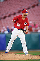 Buffalo Bisons starting pitcher Chris Leroux (28) looks in for the sign during a game against the Louisville Bats on June 22, 2016 at Coca-Cola Field in Buffalo, New York.  Buffalo defeated Louisville 8-1.  (Mike Janes/Four Seam Images)