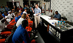 New Jersey Nets head coach Lawrence Frank speaks to high school basketball standouts along with Jason Kidd and Ben Gordon at Basketball City in New York City on August 31, 2006.  The high school players were in town for the Elite 24 Hoops Classic, which brought together the top 24 high school basketball players in the country regardless of class or sneaker affiliation.