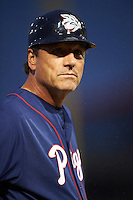 Lehigh Valley IronPigs manager Sal Rende (25) during a game against the Buffalo Bisons on July 9, 2016 at Coca-Cola Field in Buffalo, New York.  Lehigh Valley defeated Buffalo 9-1 in a rain shortened game.  (Mike Janes/Four Seam Images)