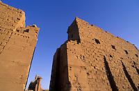 First pylon entrance at sunset, Karnak Temple, Luxor, Egypt.
