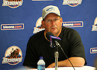Syracuse Chiefs Manager Trent Jewett answers questions about Stephen Strasburg after a game vs. the Buffalo Bisons at Coca-Cola Field in Buffalo, New York;  June 3, 2010.  Syracuse defeated Buffalo 7-1.  Photo By Mike Janes/Four Seam Images