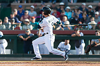 Peoria Javelinas outfielder Ian Miller (9), of the Seattle Mariners organization, follows through on his swing during the Arizona Fall League Championship game against the Salt River Rafters at Scottsdale Stadium on November 17, 2018 in Scottsdale, Arizona. Peoria defeated Salt River 3-2 in 10 innings. (Zachary Lucy/Four Seam Images)