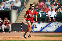 A Louisville Cardinals bat girl retrieves a bat during the game against the Florida State Seminoles in Game Eleven of the 2017 ACC Baseball Championship at Louisville Slugger Field on May 26, 2017 in Louisville, Kentucky. The Seminoles defeated the Cardinals 6-2. (Brian Westerholt/Four Seam Images)