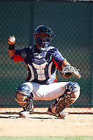 Cleveland Indians minor league catcher Francisco Mejia #16 during an instructional league game against the Cincinnati Reds at the Goodyear Training Complex on October 8, 2012 in Goodyear, Arizona.  (Mike Janes/Four Seam Images)