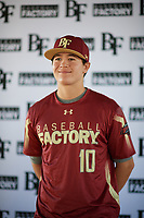 Zachary Martinez (10) of Joy Christian High School in Peoria, Arizona during the Baseball Factory All-America Pre-Season Tournament, powered by Under Armour, on January 12, 2018 at Sloan Park Complex in Mesa, Arizona.  (Zachary Lucy/Four Seam Images)