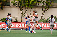 Seattle, WA - Sunday, August 13, 2017: Samantha Mewis celebrates during a regular season National Women's Soccer League (NWSL) match between the Seattle Reign FC and the North Carolina Courage at Memorial Stadium.