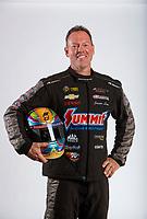 Feb 6, 2020; Pomona, CA, USA; NHRA pro stock driver Jason Line poses for a portrait during NHRA Media Day at the Pomona Fairplex. Mandatory Credit: Mark J. Rebilas-USA TODAY Sports