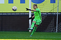 Genk's goalkeeper Joséphine Delvaux does the goal kick during a female soccer game between Eendracht Aalst and Racing Genk on the fifth matchday of the 2020 - 2021 season of Belgian Scooore Womens Super League , Saturday 28 th of November 2020  in Aalst , Belgium . PHOTO SPORTPIX.BE | SPP | SEVIL OKTEM