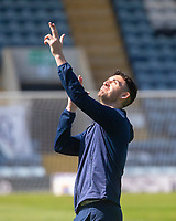24th April 2021; Dens Park, Dundee, Scotland; Scottish Championship Football, Dundee FC versus Raith Rovers; Shaun Byrne of Dundee points skyward at the sunshine as he inspects the pitch before the match
