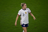 ORLANDO CITY, FL - FEBRUARY 18: Abby Dahlkemper #7 during a game between Canada and USWNT at Exploria stadium on February 18, 2021 in Orlando City, Florida.