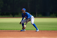 GCL Mets shortstop Federico Polanco (44) during a Gulf Coast League game against the GCL Astros on August 10, 2019 at FITTEAM Ballpark of the Palm Beaches Training Complex in Palm Beach, Florida.  GCL Astros defeated the GCL Mets 8-6.  (Mike Janes/Four Seam Images)