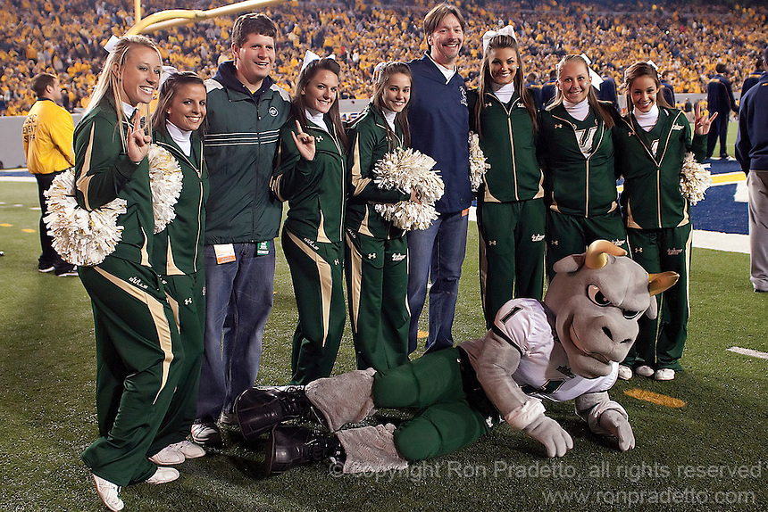 USF cheerleaders.  The West Virginia Mountaineers defeated the South Florida Bulls 20-6 on October 14, 2010 at Mountaineer Field, Morgantown, West Virginia.