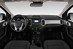 Stock photo of straight dashboard view of a 2019 Ford Ranger XLT 4 Door Pick Up