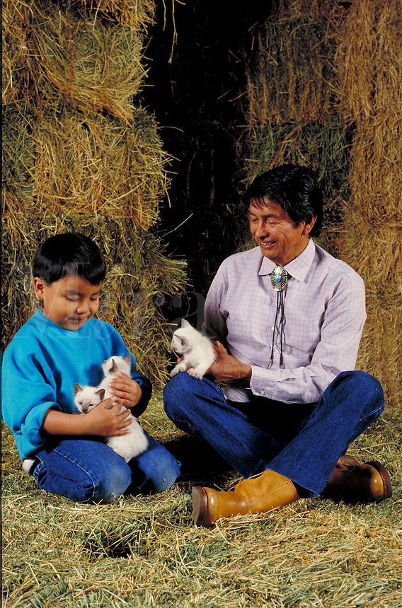NATIVE AMERICAN GRANDFATHER AND GRANDSON PLAYING WITH KITTENS IN A BARN. NATIVE-AMERICAN GRANDFATHER AND GRANDSON. OAKLAND CALIFORNIA USA BARN.