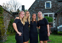 Arena Loire,  Trélazé,  France, 14 April, 2016, Semifinal FedCup, France-Netherlands, Official Diner,  Dutch team, Ltr: Richel Hogenkamp, Arantxa Rus, Cindy Burger  and Kiki Bertens, . <br /> Photo: Henk Koster/Tennisimages