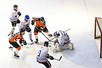 Jordan So of HK Tigers (L) battle in the goal mouth with Rodolphe Brunetti, Goalie of Flying French (R) during the Mega Ice Hockey 5s match between Hong Kong Tigers and Flying French on May 02, 2018 in Hong Kong, Hong Kong. Photo by Marcio Rodrigo Machado / Power Sport Images