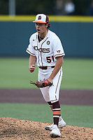 Virginia Tech Hokies relief pitcher Graham Firoved (51) pumps his fist after getting the final out against the Georgia Tech Yellow Jackets at English Field on April 17, 2021 in Blacksburg, Virginia. (Brian Westerholt/Four Seam Images)