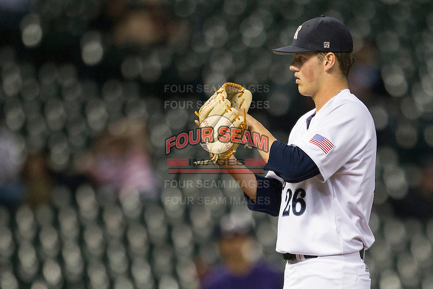 Rice Owls pitcher Blake Fox #26 looks to his catcher for the sign during the NCAA baseball game against the TCU Horned Frogs on March 1, 2014 during the Houston College Classic at Minute Maid Park in Houston, Texas. Rice defeated TCU 1-0. (Andrew Woolley/Four Seam Images)