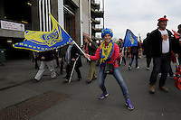 A ASM Clermont Auvergne fan getting into the spirit at European Rugby Champions Cup Final between ASM Clermont Auvergne and RC Toulon