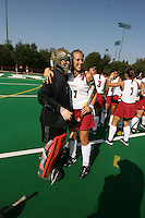 6 November 2007: Stanford Cardinal Madison Bell (left) and Chloe Bade (17) during Stanford's 1-0 win against the Lock Haven Lady Eagles in an NCAA play-in game to advance to the NCAA tournament at the Varsity Field Hockey Turf in Stanford, CA.