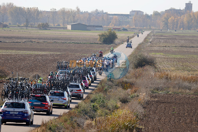 Easy day for the peloton during Stage 9 of the Vuelta Espana 2020 running 157.7km from B.M. Cid Campeador. Castrillo del Val to Aguilar de Campo, Spain. 29th October 2020.    <br /> Picture: Luis Angel Gomez/PhotoSportGomez | Cyclefile<br /> <br /> All photos usage must carry mandatory copyright credit (© Cyclefile | Luis Angel Gomez/PhotoSportGomez)