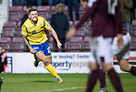 Hearts v St Johnstone…..14.12.19   Tynecastle   SPFL<br />Callum Hendry celebrates his goal<br />Picture by Graeme Hart.<br />Copyright Perthshire Picture Agency<br />Tel: 01738 623350  Mobile: 07990 594431