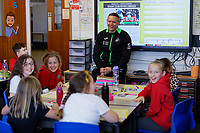 Pictured: Lee Trundle. Wednesday 29 January 2020<br /> Re: Swansea City AFC Community Trust visit Llangyfelach primary School in Swansea, Wales, UK.