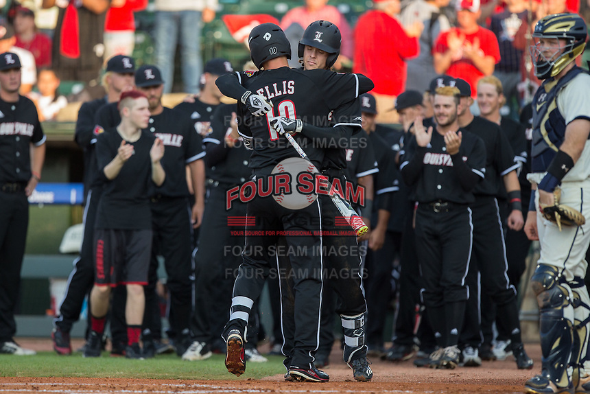 Drew Ellis (10) of the Louisville Cardinals gets a hug from teammate Devin Mann (7) following his solo home run against the Notre Dame Fighting Irish in Game Eight of the 2017 ACC Baseball Championship at Louisville Slugger Field on May 25, 2017 in Louisville, Kentucky.  The Cardinals defeated the Fighting Irish 10-3.  (Brian Westerholt/Four Seam Images)