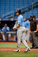 Roberto Alvarez (17) at bat during the Tampa Bay Rays Instructional League Intrasquad World Series game on October 3, 2018 at the Tropicana Field in St. Petersburg, Florida.  (Mike Janes/Four Seam Images)