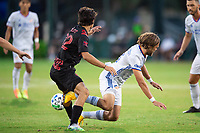 LAKE BUENA VISTA, FL - JULY 22: Florian Valot #22 of the New York Red Bulls and Tom Pettersson #3 of FC Cincinnati battle for the ball during a game between New York Red Bulls and FC Cincinnati at Wide World of Sports on July 22, 2020 in Lake Buena Vista, Florida.