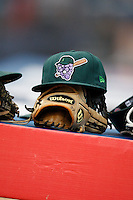 July 30, 2009:  Jamestown Jammers hat on top of a glove during a game at Russell Diethrick Park in Jamestown, NY.  The Jammers are the NY-Penn League Short-Season Single-A affiliate of the Florida MarlinsPhoto By Mike Janes/Four Seam Images
