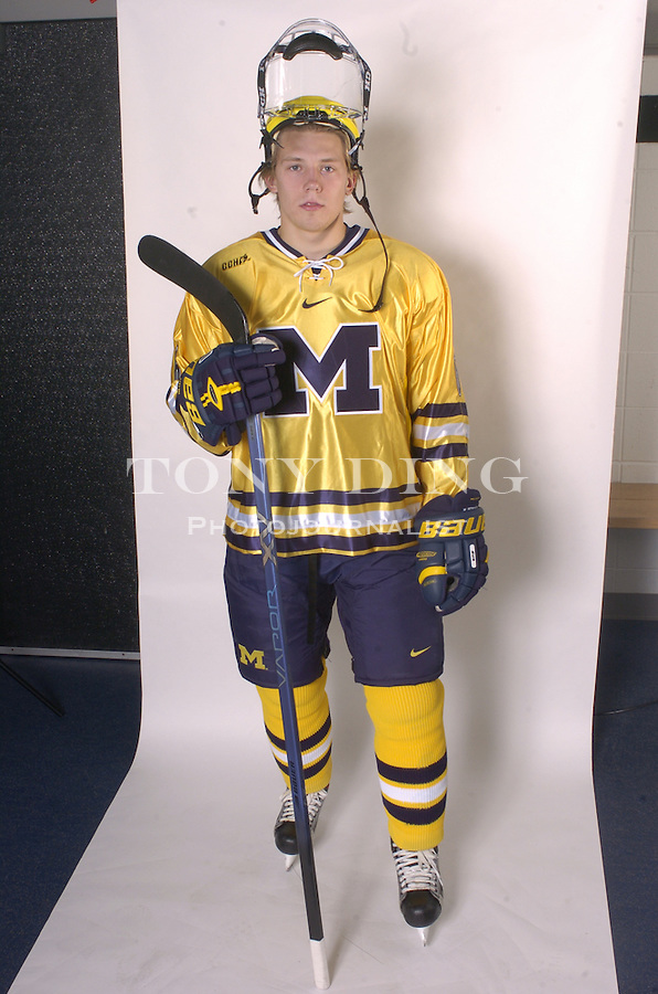 .Michigan Hockey player portrait taken at Yost Ice Arena in Ann Arbor, Mich on Monday, October 4, 2004. (Photo by TONY DING / Daily).Sophomore defender Matt Hunwick (6)..Michigan Hockey player portrait taken at Yost Ice Arena in Ann Arbor, Mich on Monday, October 4, 2004. (Photo by TONY DING / Daily).