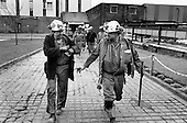 Miners finish a maintenance shift at Grimethorpe Colliery shortly before the pit closed and the South Yorkshire pit village suffered severe economic decline.