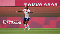 KASHIMA, JAPAN - AUGUST 2: Crystal Dunn #2 of the USWNT controls the ball during a game between Canada and USWNT at Kashima Soccer Stadium on August 2, 2021 in Kashima, Japan.